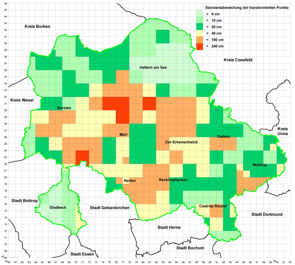 Grafik Standardabweichungen der transformierten Punkte im Kreis Recklinghausen